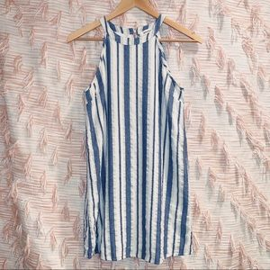 Monteau Small Linen Sleeveless Striped Dress